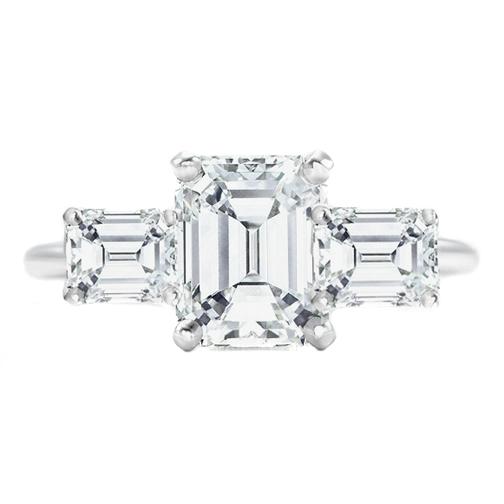 Engagement Ring 3 Stone Horizontally Set Emerald Cut Diamond Engagement Ring