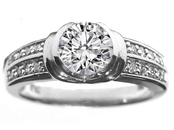 Bezel Set Diamond Engagement Ring with Sidestones 0.16 tcw. in 14K White Gold