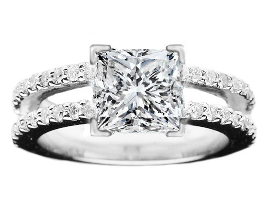 Princess Diamond Split Band Engagement Ring Britney Spears Choice in 14K White Gold 0.56 tcw.