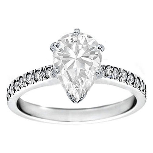 Pear Diamond Novo Engagement Ring Pave band 0.28 tcw. Like Alyssa Milano in 14K White Gold