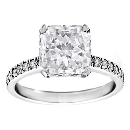 Radiant Diamond Novo Engagement Ring Pave band 0.28 tcw. Like Alyssa Milano in 14K White Gold