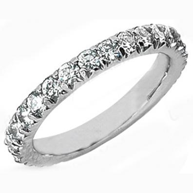 Round Diamond Novo Style Vintage Wedding Band 032 tcw In 14K White Gold