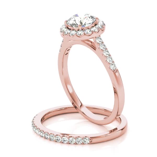 Diamond Halo Cathedral Engagement Ring Pave Band & Matching Wedding Band 14K Rose Gold