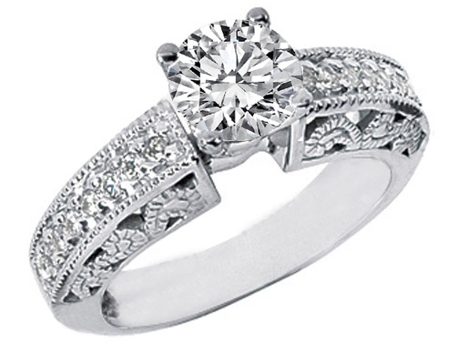 Diamond Filigree Heirloom Engagement Ring and Matching Wedding Band Bridal Set 0.54 tcw.