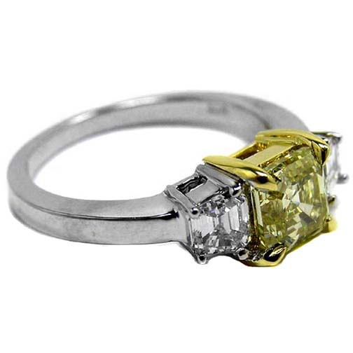 Fancy Yellow Asscher Diamond Ring Trapezoids side stones 0.40 tcw.