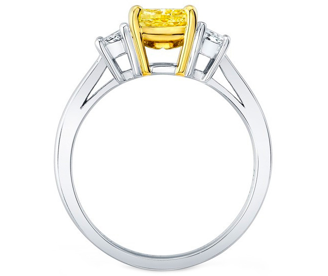 Fancy Yellow Cushion Diamond Ring Trapezoids side stones 0.40 tcw.