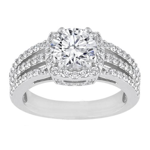 Diamond Halo Three Row Vintage Style Split Band Engagement Ring 0 58 Tcw In 14k White