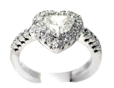 Heart Shape Diamond Halo Engagement Ring In 14K White Gold