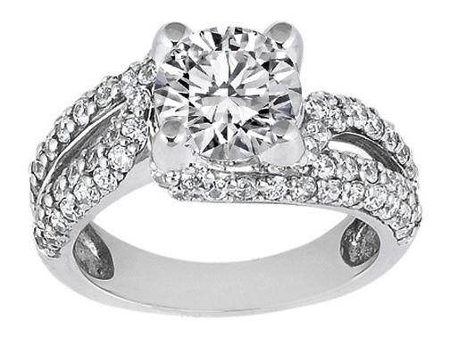 Vintage Style Round Diamond Split Band Engagement Ring 086 tcw