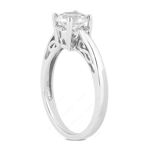 0.50 Carat Round Diamond Classic Solitaire Engagement Ring with Filigree Engraving