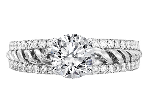 Split Band Double Helix Diamond Engagement Ring 0.70 tcw.