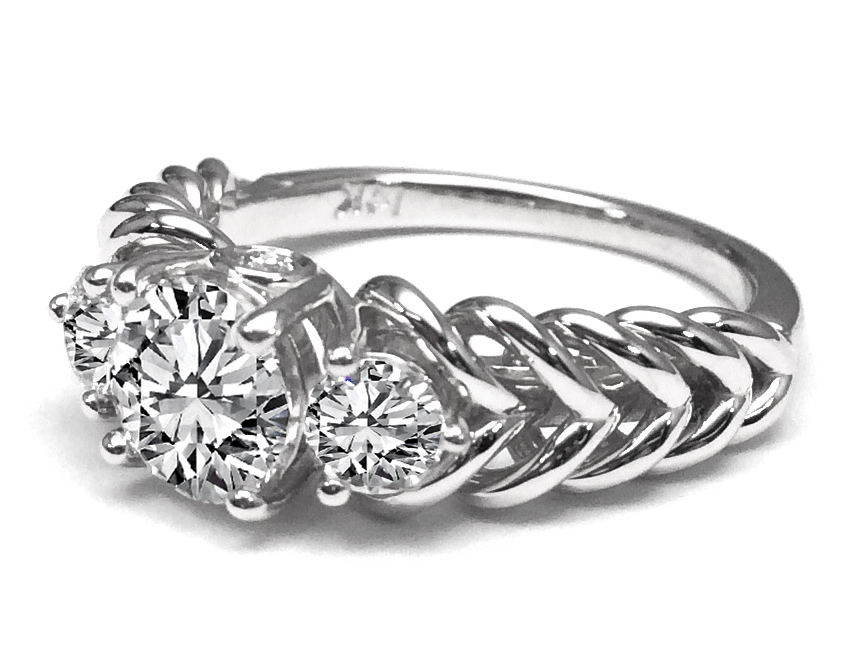 Three Stone Double Helix Diamond Engagement Ring 0.56 tcw.