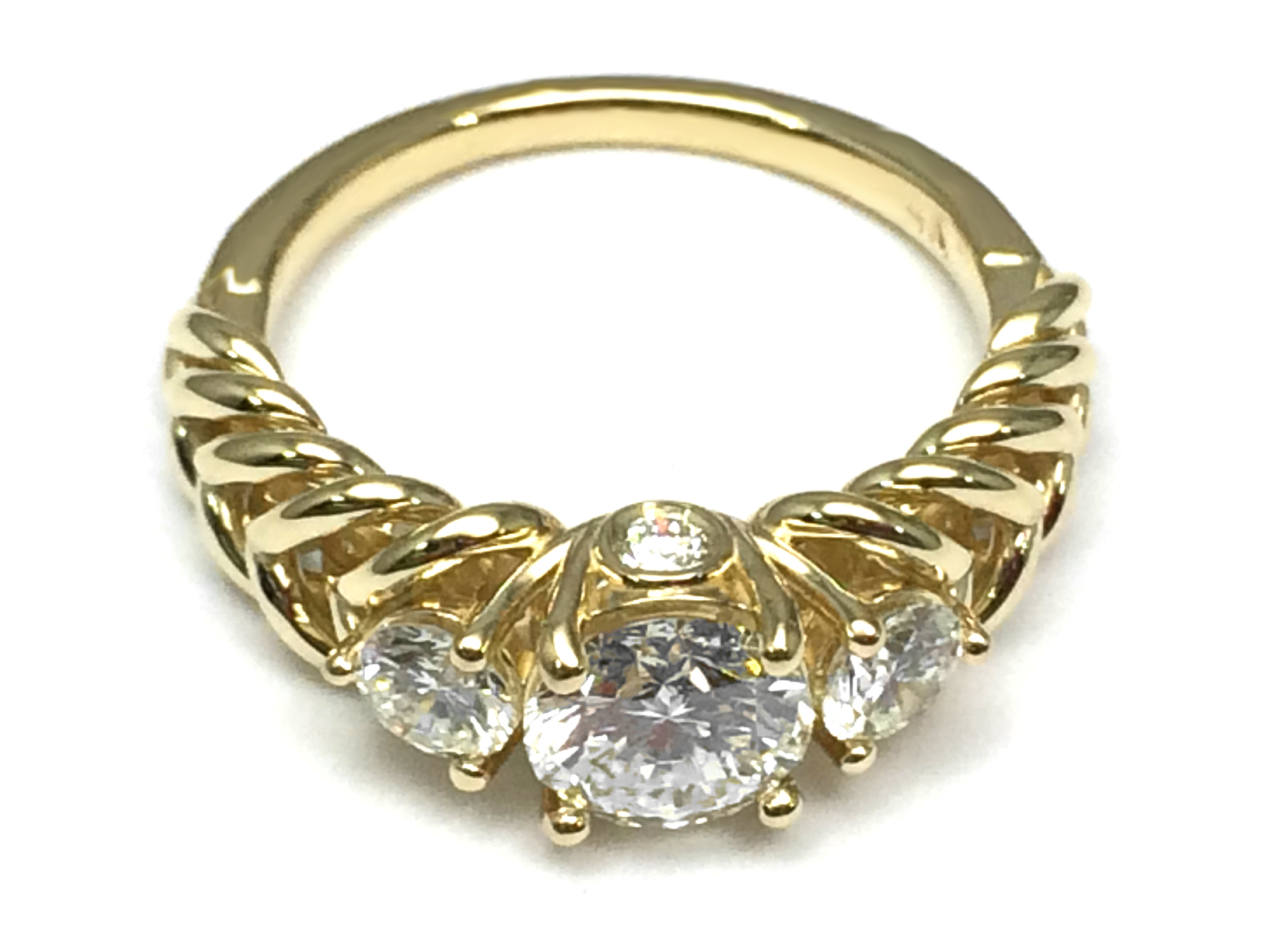 Three Stone Double Helix Diamond Engagement Ring 0.56 tcw. 14K Yellow Gold