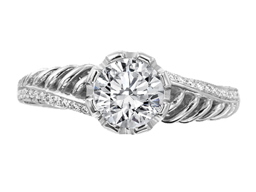 Double Helix Diamond Engagement Ring 0.36 tcw.