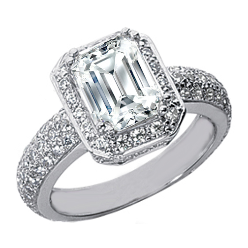 Emerald Cut Diamond Halo Vintage Engagement Ring with Etoil Band 1.16 tcw. In 14K White Gold