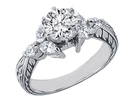 14 Karat White Gold Round Diamond Filigree Engagement Ring Setting with