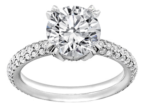 Diamond Engagement Ring Etoil Style Three-row Diamond Band, 1.10 tcw