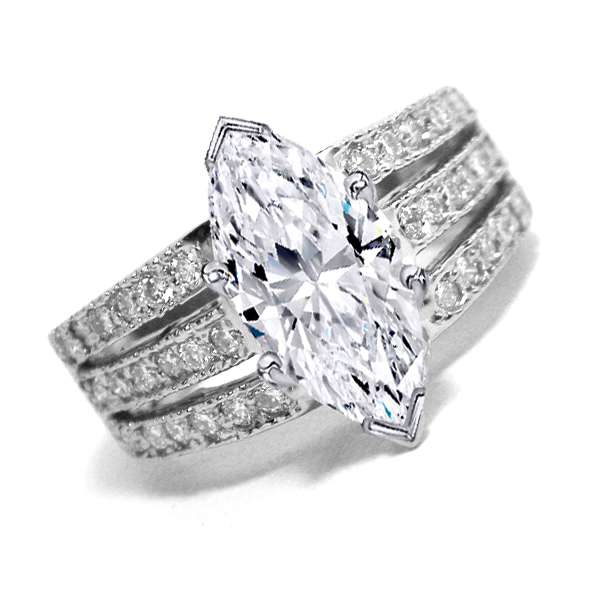 Engagement Ring Marquise Cut Diamond Engagement Ring 3 Row Band