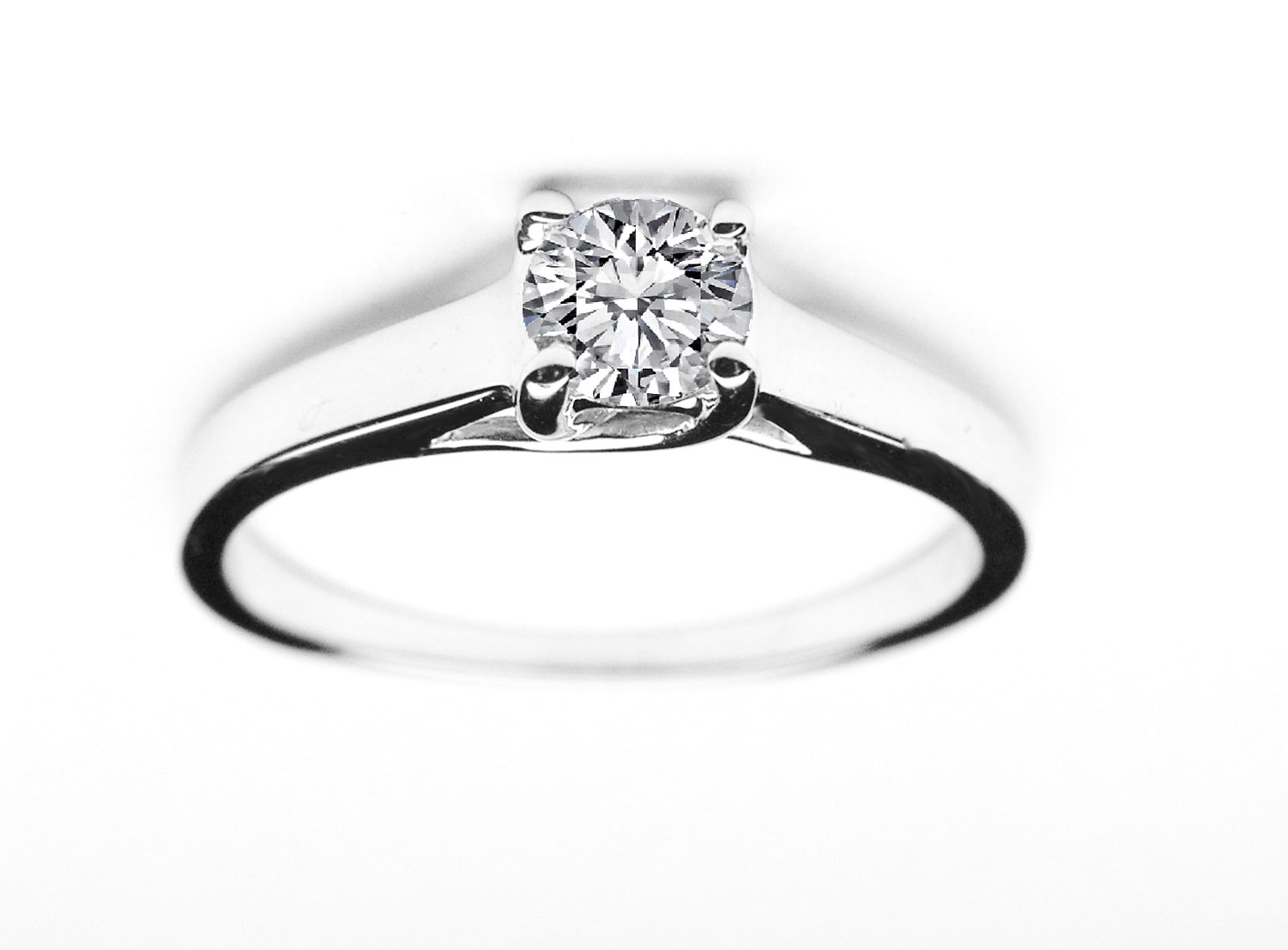 Classic Solitaire Diamond Trellis Engagement Ring in 14K White Gold for a Small Diamond
