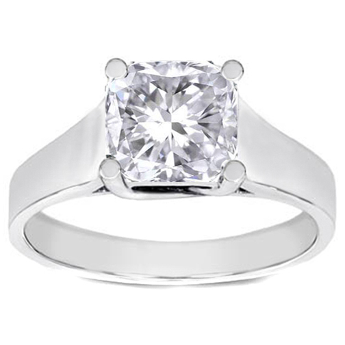 Classic Solitaire Cushion Cut Diamond Trellis Engagement Ring in 14K White Gold