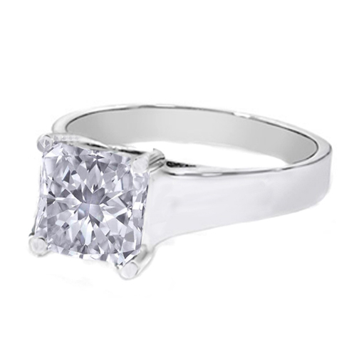 Classic Solitaire Radiant Diamond Trellis Engagement Ring in 14K White Gold