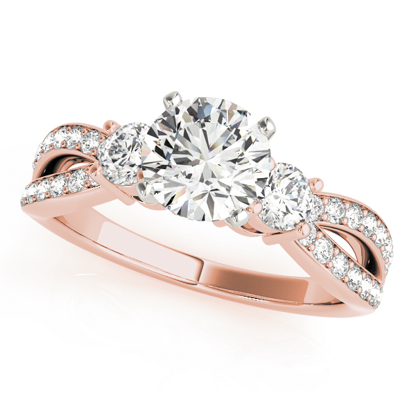 Three Stone Diamond Engagement Ring Diamond Band & Matching Wedding Band in Rose Gold