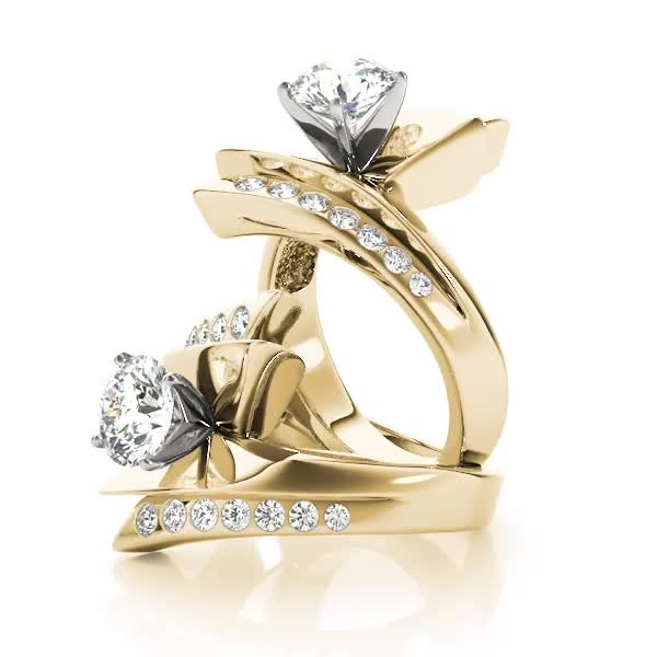 Flash inspired Diamond Engagement Ring in Yellow Gold
