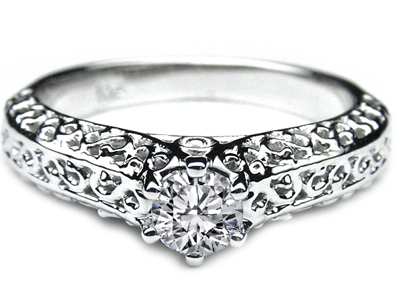 Filigree Diamond Engagement Ring in 14K White Gold