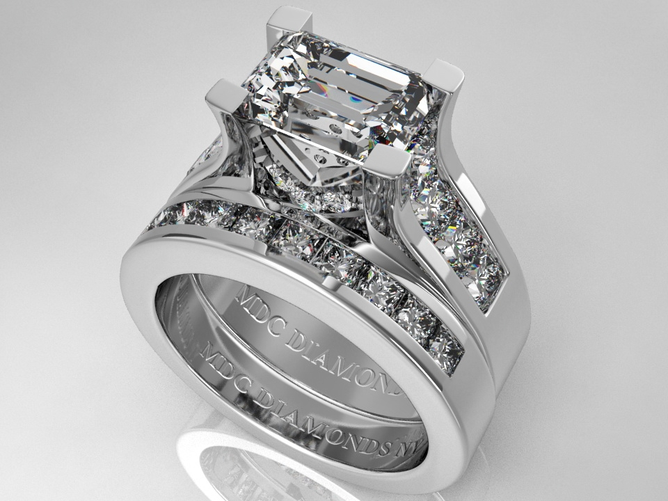 engagement ring modern horizontal emerald cut