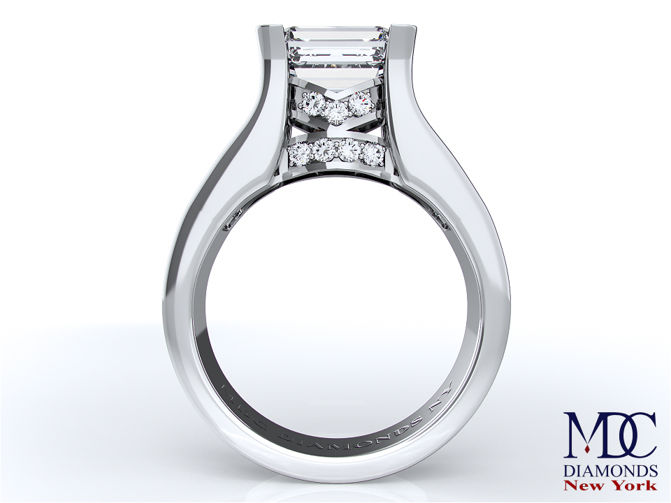 Modern Horizontal Emerald Cut Diamond Engagement Ring in 14K White Gold