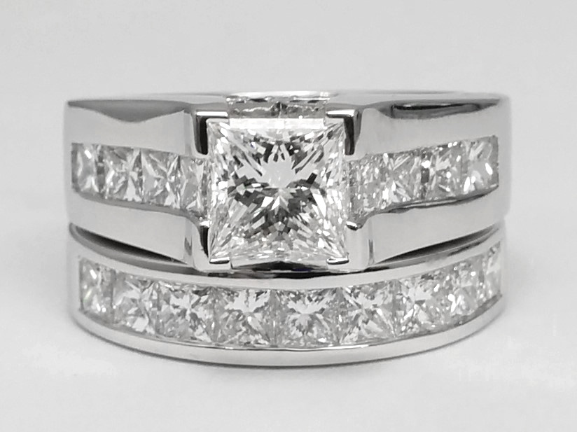 2.82 Carat Total Weight Modern Princess Diamond Bridal Set in Platinum