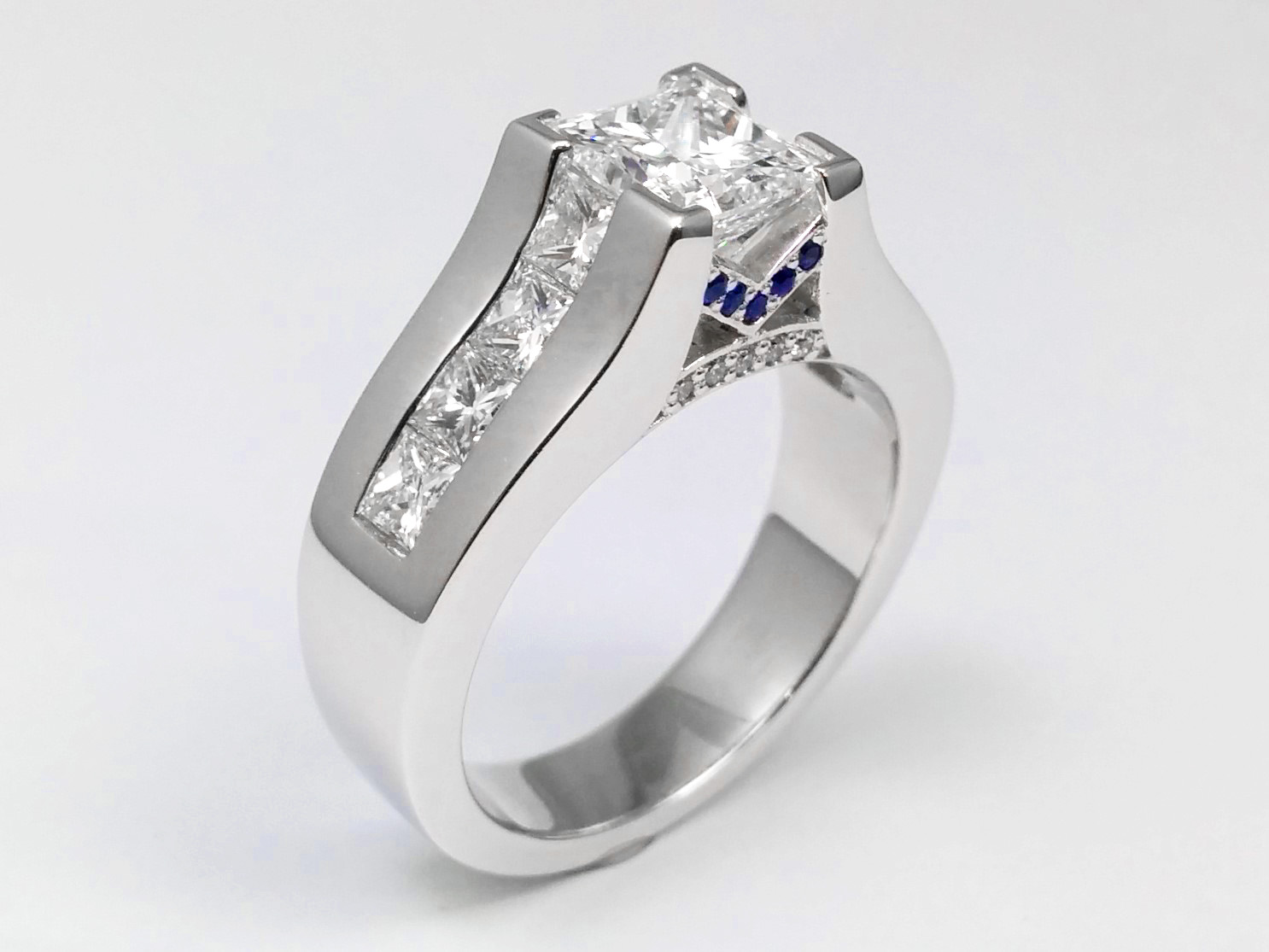 Modern Princess Diamond Engagement Ring Princess Diamonds and Blue Sapphires on Band