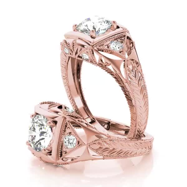 Filigree Diamond Heirloom Engagement Ring in 18K Rose Gold