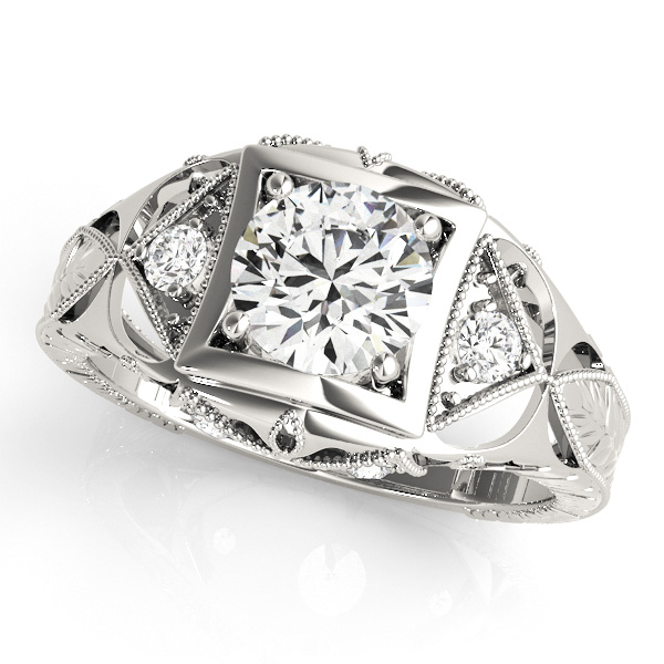 Filigree Diamond Heirloom Engagement Ring in 14K White Gold