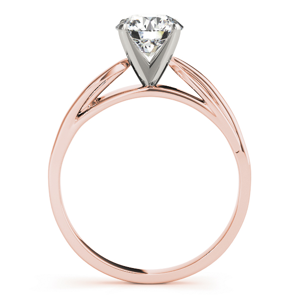 Solitaire Cathedral Diamond Leave Bridal Set in Rose Gold
