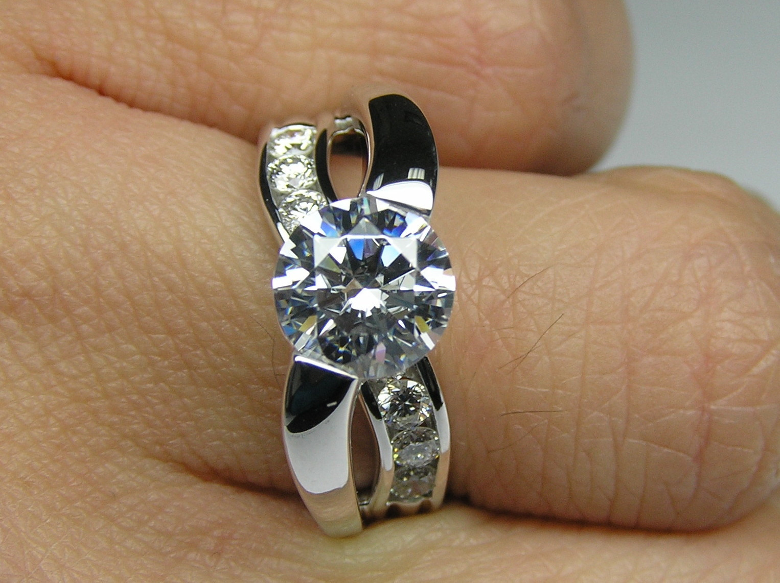 Criss-Cross Bypass Bridge Diamond Engagement Ring 0.50 tcw. In 14K White Gold