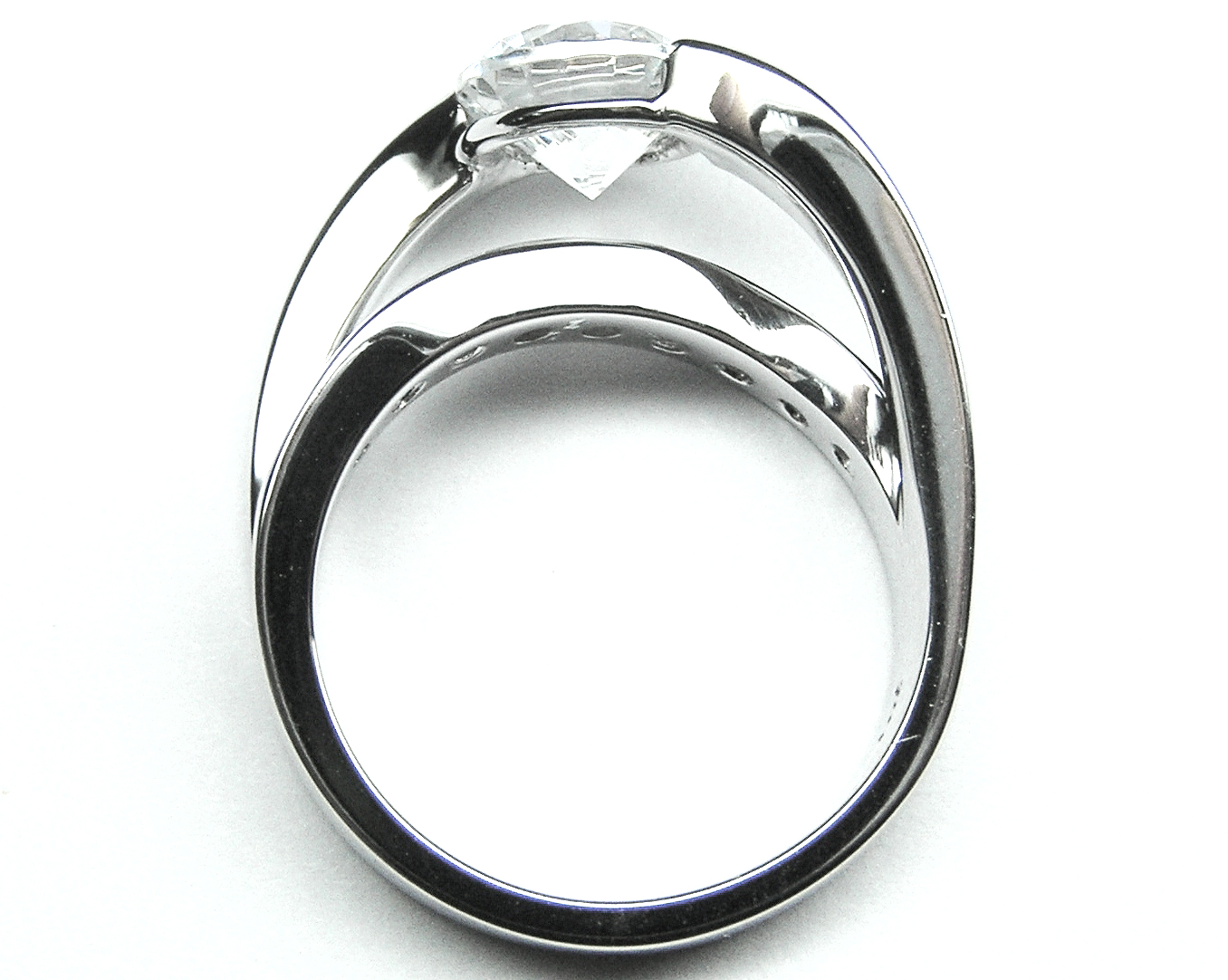 Criss-Cross Bypass Bridge Diamond Engagement Ring 0.50 tcw.