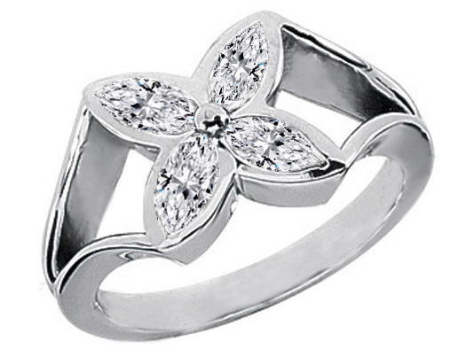 0.6 Carat Marquise Diamond Flower Ring
