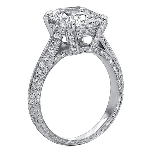 Vintage Style Cushion Diamond Cathedral Knife Edge Engagement Ring 0.7 tcw.