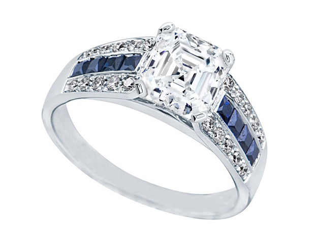 Asscher Diamond Vintage Horseshoe Engagement Ring  0.6 tcw. In 14K White Gold