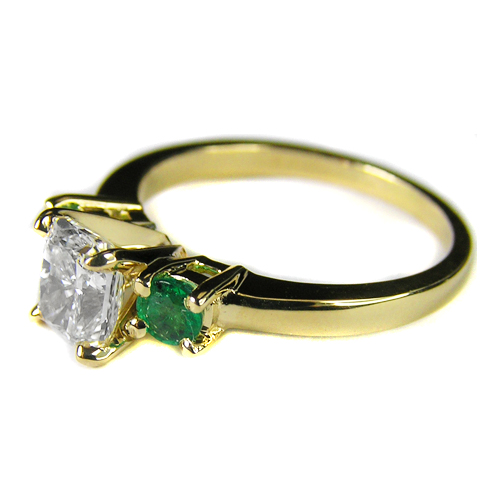 Engagement Ring with Green Emeralds 0.20 tcw. In 14K Yellow Gold