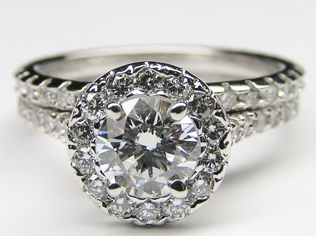 diamond halo cathedral engagement ring matching wedding band in 14k white gold - Wedding Band For Halo Ring