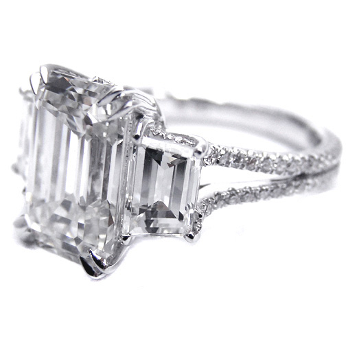 Three Stone Emerald Cut Diamond Vintage Style Split Band Engagement Ring ...