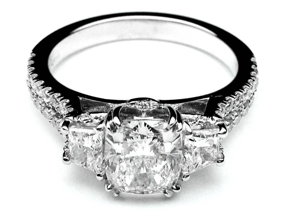 three stone cushion cut diamond vintage style split band engagement ring for large diamonds - Black Band Wedding Rings