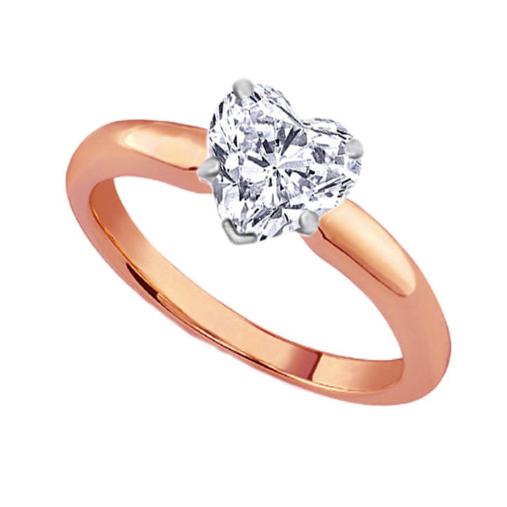 Heart Cut Diamond Classic Solitaire Engagement Ring dome tapered band in 18K Rose Gold