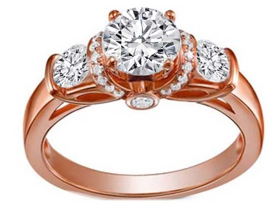Pink Gold Three Stone Diamond Engagement Ring 0.55 tcw. in 14K White Gold