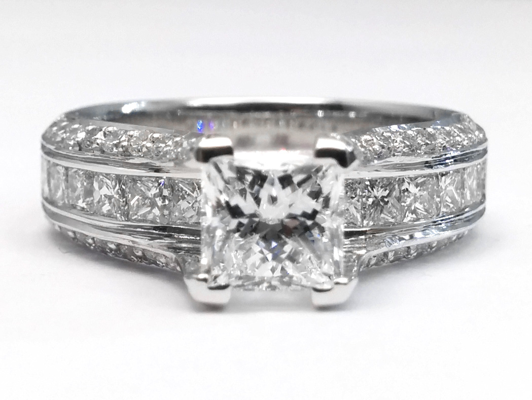 Princess Diamond Bridge Engagement Ring 1.10 tcw.