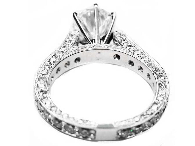 Cathedral Pave Diamond Eternity Engagement Ring, 1.28 tcw
