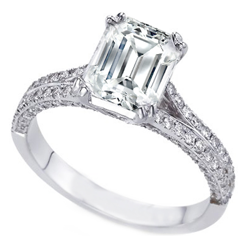 Emerald Cut Diamond Split Band Engagement Ring Like Leann Rimes 0.50 tcw.