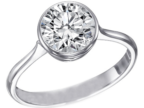 Contour Bezel Diamond Engagement Ring